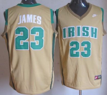The Fighting Irish #23 Lebron James Yellow Jersey
