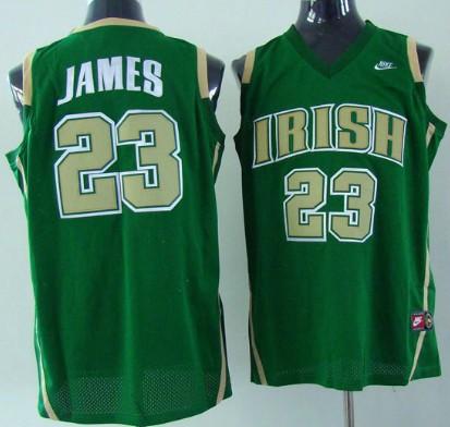 The Fighting Irish #23 Lebron James Green Jersey
