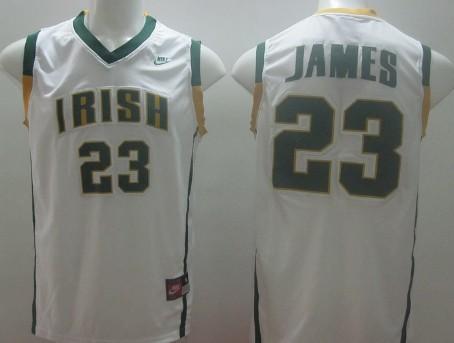 The Fighting Irish #23 Lebron James White Jersey
