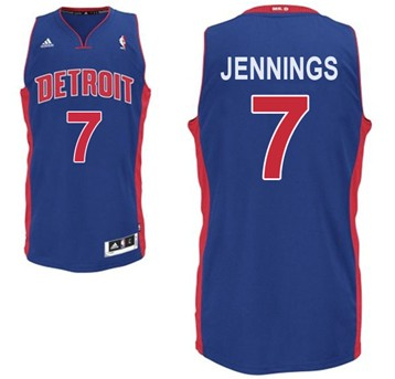 Detroit Pistons #7 Brandon Jennings Blue Swingman Jersey