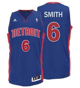 Detroit Pistons #6 Josh Smith Blue Swingman Jersey