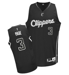 Los Angeles Clippers #3 Chris Paul All Black With White Jersey