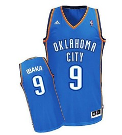 Oklahoma City Thunder #9 Serge Ibaka Blue Swingman Jersey