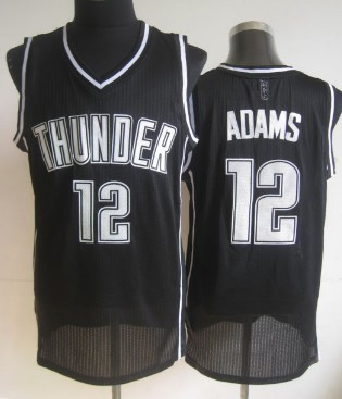 Oklahoma City Thunder #12 Steven Adams Black With White Swingman Jersey