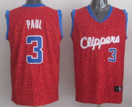 Los Angeles Clippers #3 Chris Paul Red Leopard Print Fashion Jersey