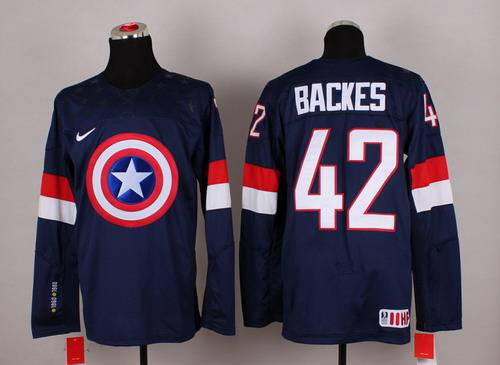 2015 Men's Team USA #42 David Backes Captain America Fashion Navy Blue Jersey