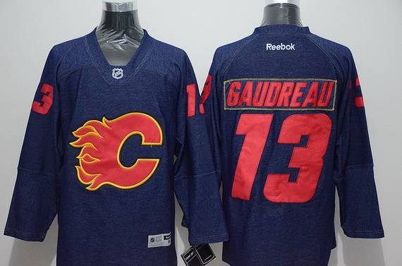 Men's Calgary Flames #13 Johnny Gaudreau Navy Blue Denim Fabric Fashion Jersey