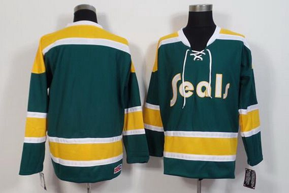 Men's California Golden Seals Blank 1970-71 Green CCM Vintage Throwback Jersey