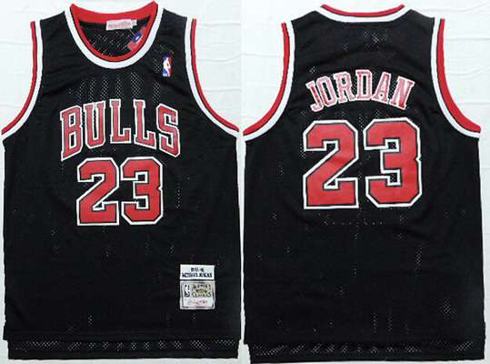 Men's Chicago Bulls #23 Michael Jordan 1997-98 Black Hardwood Classics Soul Swingman Throwback Jersey
