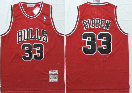 Chicago Bulls #33 Scottie Pippen 1997-98 Red Hardwood Classics Soul Swingman Throwback Jersey