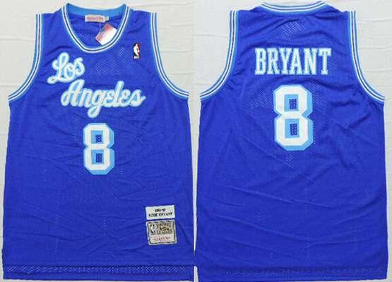 Men's Los Angeles Lakers #8 Kobe Bryant 1996-97 Blue Hardwood Classics Soul Swingman Throwback Jersey