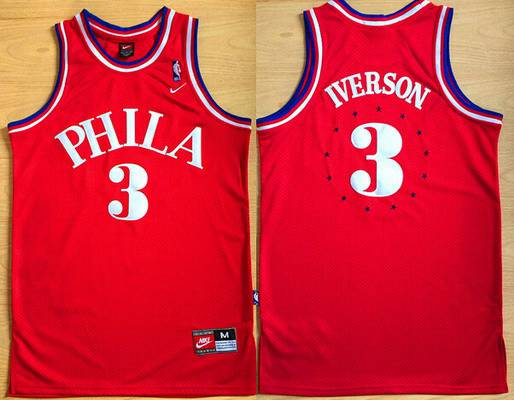 Men's Philadelphia Sixers #3 Allen Iverson 1964 Red Hardwood Classics Soul Swingman Throwback Jersey