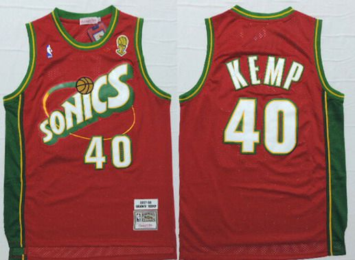 Men's Seattle Supersonics #40 Shawn Kemp 1997-98 Red Hardwood Classics Soul Swingman Throwback Jersey