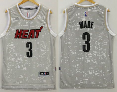Men's Miami Heat #3 Dwyane Wade Adidas 2015 Gray City Lights Swingman Jersey