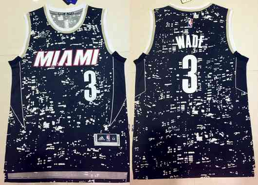 Men's Miami Heat #3 Dwyane Wade Adidas 2015 Urban Luminous Swingman Jersey