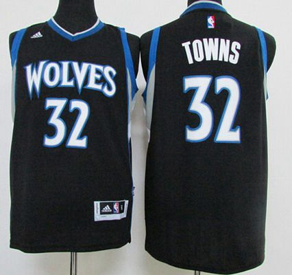 Men's Minnesota Timberwolves #32 Karl-Anthony Towns Revolution 30 Swingman 2015 Draft New Black Jersey