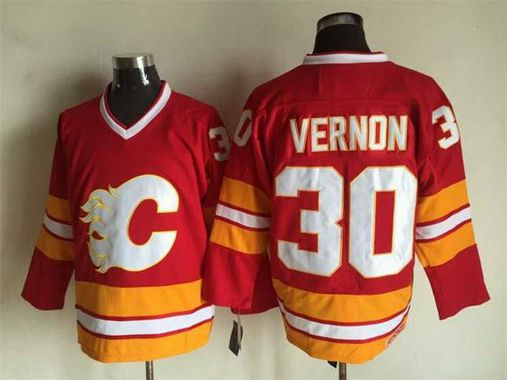 Men's Calgary Flames #30 Mike Vernon 1981-82 Red CCM Vintage Throwback Jersey