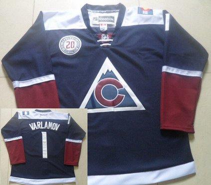 Men's Colorado Avalanche #1 Semyon Varlamov Reebok Navy Blue 20th Alternate Premier Jersey