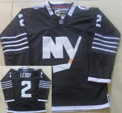 Men's New York Islanders #2 Nick Leddy 2015 Reebok Black Premier Alternate Jersey