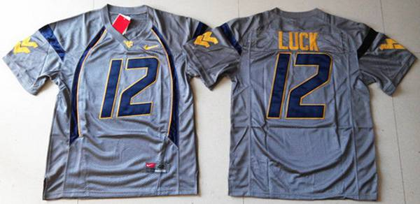 Men's West Virginia Mountaineers #12 Oliver Luck Gray NCAA Football Nike Jersey
