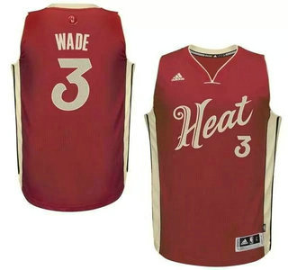 Men's Miami Heat #3 Dwyane Wade Revolution 30 Swingman 2015 Christmas Day Red Jersey