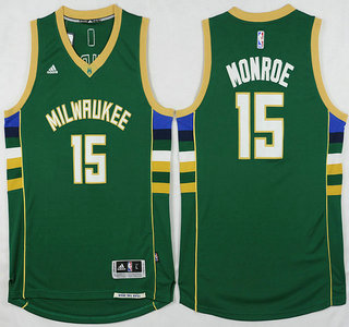 Men's Milwaukee Bucks #15 Greg Monroe Revolution 30 Swingman 2015-16 Green Jersey
