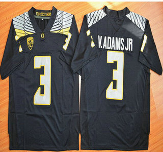 Oregon Duck #3 Vernon Adams Jr Black College Football Nike Limited Jersey