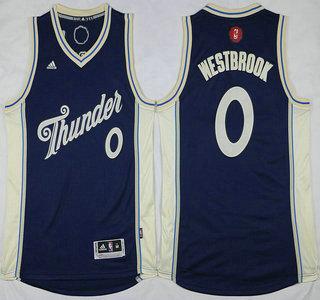 Oklahoma City Thunder #0 Russell Westbrook Revolution 30 Swingman 2015 Christmas Day Navy Blue Jersey