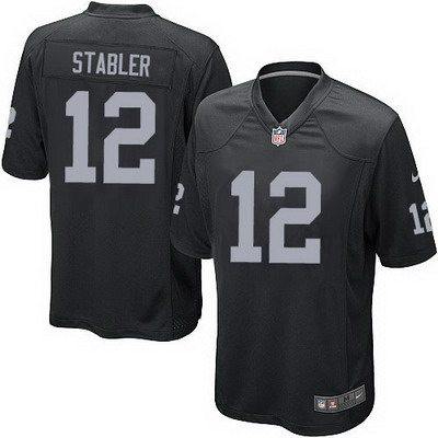 Youth Oakland Raiders #12 Ken Stabler Nike Black Game Jersey