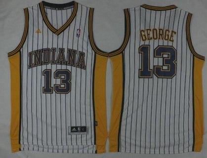 Men's Indiana Pacers #13 Paul George Revolution 30 Swingman 2015-16 Retro White Jersey