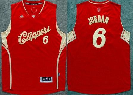 Men's Los Angeles Clippers #6 DeAndre Jordan Revolution 30 Swingman 2015 Christmas Day Red Jersey