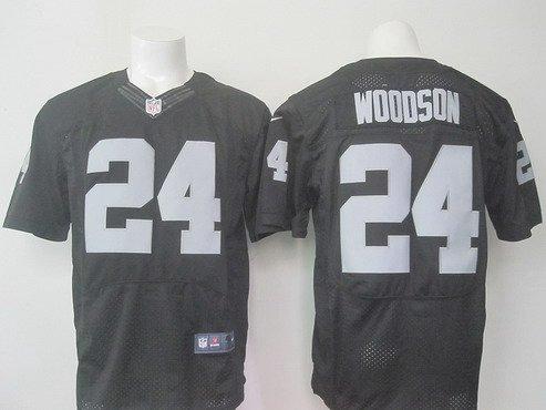 Men's Oakland Raiders #24 Charles Woodson Black Team Color 2015 NFL Nike Elite Jersey