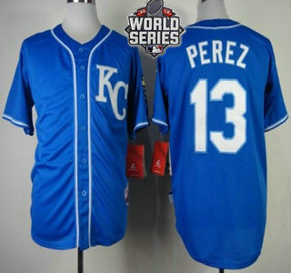 Men's Kansas City Royals #13 Salvador Perez KC Blue Alternate Baseball Jersey With 2015 World Series Patch
