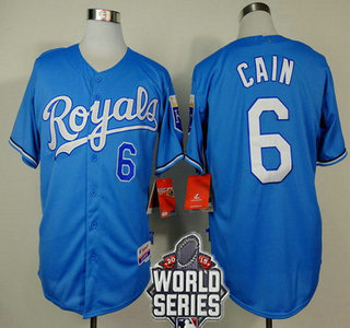 Men's Kansas City Royals #6 Lorenzo Cain Light Blue Alternate Baseball Jersey With 2015 World Series Patch