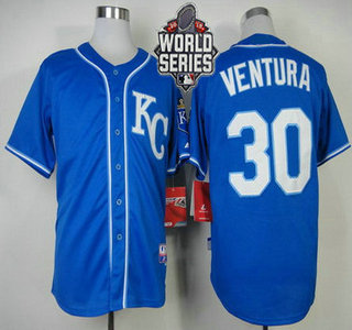 Men's Kansas City Royals #30 Yordano Ventura KC Blue Alternate Baseball Jersey With 2015 World Series Patch