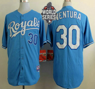 Men's Kansas City Royals #30 Yordano Ventura Light Blue Alternate Baseball Jersey With 2015 World Series Patch