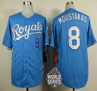 Men's Kansas City Royals #8 Mike Moustakas Light Blue Alternate Baseball Jersey With 2015 World Series Patch