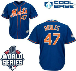 New York Mets #47 Hansel Robles Blue Orange Authentic Cool Base Jersey with 2015 World Series Participant Patch