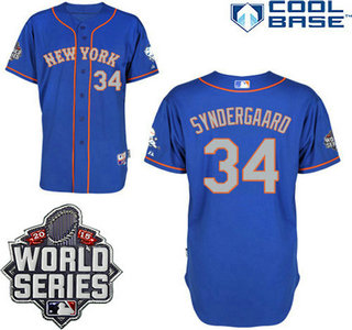 New York Mets Authentic #34 Noah Syndergaard Alternate Road Blue Gray Jersey with 2015 World Series Patch