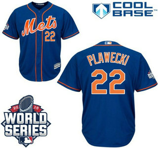 New York Mets #22 Kevin Plawecki Blue Orange Authentic Cool Base Jersey with 2015 World Series Participant Patch