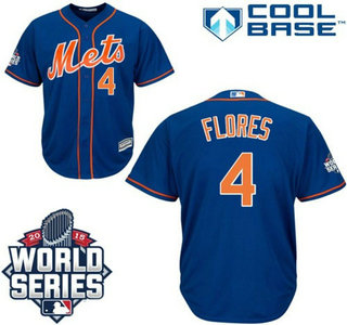 Men's New York Mets #4 Wilmer Flores Royal Blue Orange Cool Base Jersey with 2015 World Series Participant Patch
