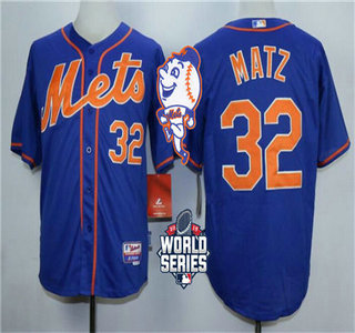 Men's New York Mets #32 Steven Matz Royal Blue Orange Cool Base Jersey with 2015 World Series Participant Patch