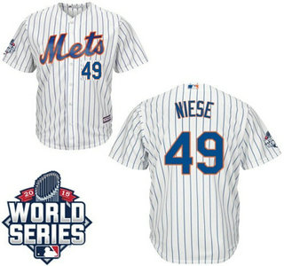 New York Mets #49 Jon Niese Home white Authentic Cool Base Jersey with 2015 World Series Participant Patch