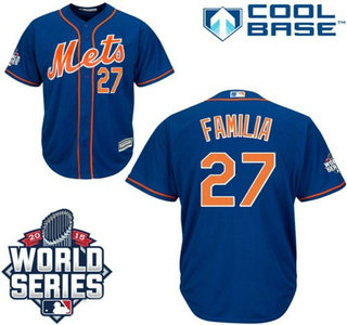 New York Mets #27 Jeurys Familia Blue Orange Authentic Cool Base Jersey with 2015 World Series Participant Patch