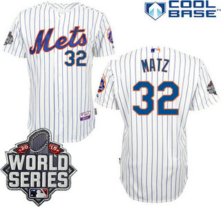 New York Mets Authentic #32 Steven Matz Home White Pinstripe Jersey with 2015 World Series Participant Patch