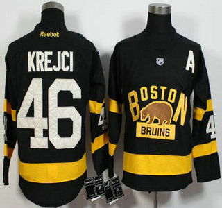 Men's Boston Bruins #46 David Krejci Reebok Black 2016 Winter Classic Premier Jersey