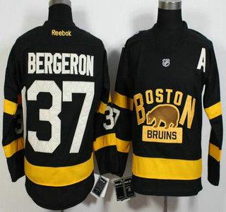 Men's Boston Bruins #37 Patrice Bergeron Reebok Black 2016 Winter Classic Premier Jersey