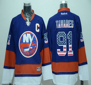 Men's New York Islanders #91 John Tavares Light Blue USA Flag Hockey Jersey
