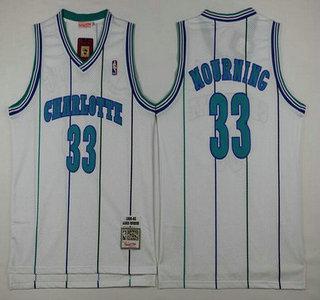 Men's Charlotte Hornets #33 Alonzo Mourning 1992-93 White Hardwood Classics Soul Swingman Throwback Jersey