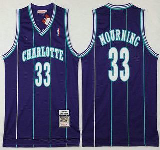 Men's Charlotte Hornets #33 Alonzo Mourning 1992-93 Purple Hardwood Classics Soul Swingman Throwback Jersey